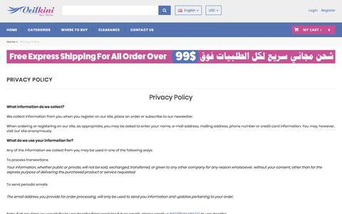 Screenshot of Privacy Page veilkini.com - Veilkini - Privacy Policy - captured Sept. 21, 2018