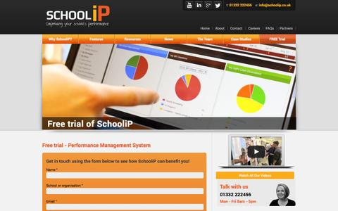 Screenshot of Trial Page schoolip.co.uk - Free trial - Performance Management System - Cloud based school improvement solution to integrate your CPD, improvement planning and self-evaluation - captured Oct. 10, 2014