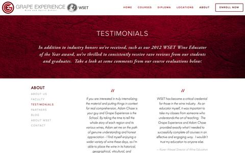 Screenshot of Testimonials Page grapeexperience.com - Testimonials — Grape Experience - captured Dec. 13, 2015