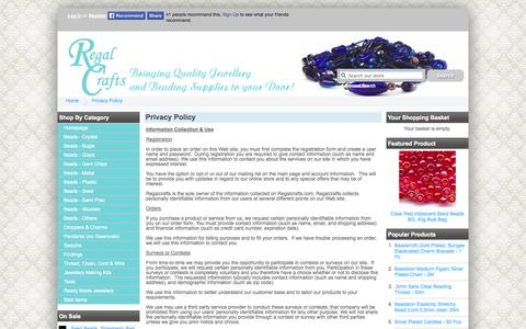 Screenshot of Privacy Page regalcrafts.com - Privacy Policy - Regalcrafts UK- Online jewellery making and beading supplies - captured Oct. 7, 2014