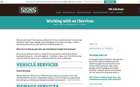 Screenshot of Services Page lexsigns.com - Greater Boston Area Based Lexington Signs & Graphics - captured March 1, 2016