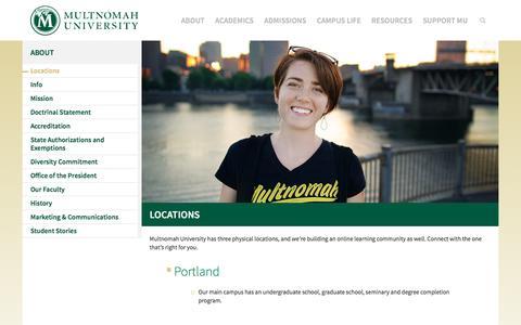 Screenshot of Locations Page multnomah.edu - Locations | Multnomah University - captured Dec. 19, 2016