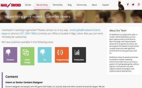 Screenshot of Jobs Page madsword.com - MadSword - captured Nov. 2, 2014