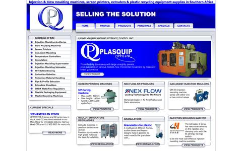 Screenshot of Home Page plasquip.co.za - Plastic Industry Manufacturing Equipment - captured Sept. 30, 2014