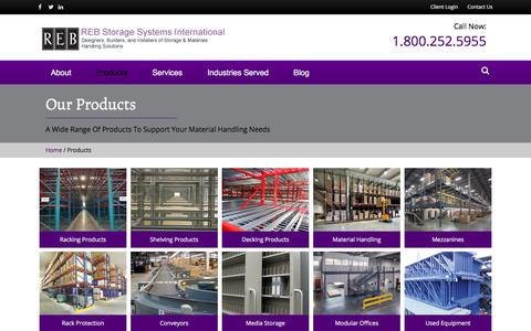 Screenshot of Products Page rebstorage.com - The Right Products for Your Material Handling Solutions | REB - captured Sept. 21, 2018