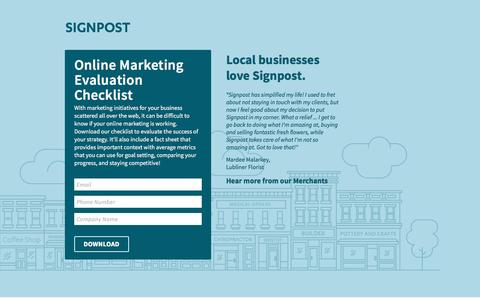 Screenshot of Landing Page signpost.com - Online Marketing Evaluation Checklist & Factsheet - captured Feb. 5, 2017