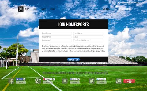 Screenshot of Signup Page homesports.com - Get GamePlan - HomeSports - captured Sept. 30, 2014