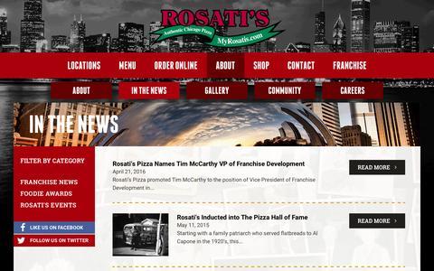 Screenshot of Press Page myrosatis.com - In The News | Rosati's Publicity | Rosati's Pizza - captured Nov. 19, 2016