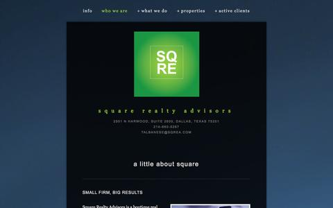 Screenshot of About Page sqrea.com - who we are — square realty advisors - captured Oct. 7, 2014