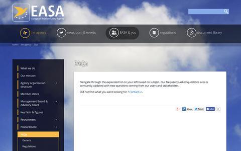 Screenshot of FAQ Page europa.eu - FAQs | EASA - captured Sept. 19, 2014