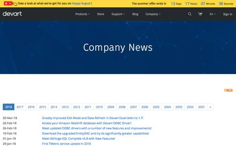 Screenshot of Press Page devart.com - Devart News: New Software Releases, Company News and Press Releases - 2018 - captured Aug. 17, 2018