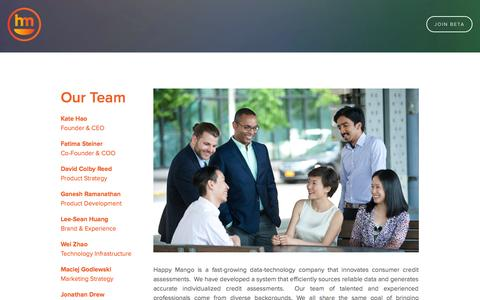 Screenshot of Team Page happymangocredit.com - Our Team — Happy Mango - captured Nov. 1, 2014