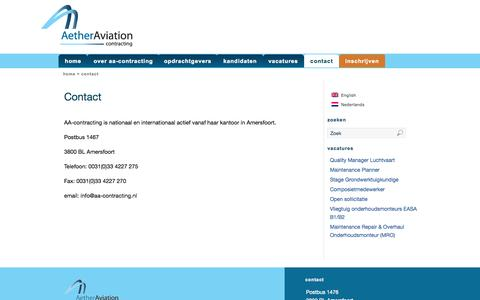 Screenshot of Contact Page aa-contracting.nl - Contact | AA-Contracting - captured Sept. 30, 2014