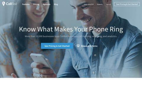 Screenshot of Home Page callrail.com - Call Tracking - Phone Call Analytics for PPC, SEO, and Offline Marketing - captured Sept. 18, 2014