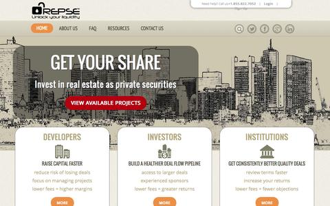 Screenshot of Home Page repse.com - REPSE | Unlock Your Liquidity - captured Oct. 24, 2014