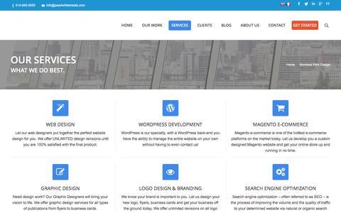 Screenshot of Services Page pearlwhitemedia.com - Montreal website designers, Magento, Wordpress web site designe, SEO services | Pearl White Media - captured Dec. 7, 2015