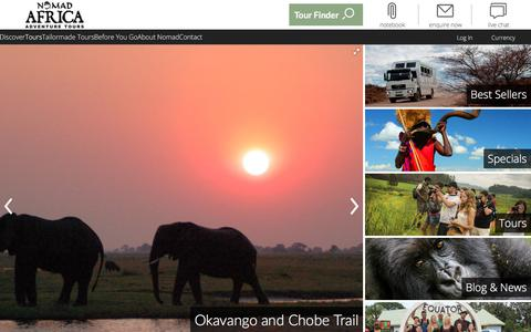 Screenshot of Home Page nomadtours.co.za - Nomad Africa Adventure Tours - African Adventure Tours - captured June 23, 2017