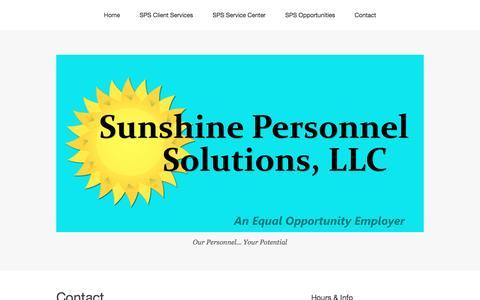 Screenshot of Contact Page sunshinepersonnelsolutions.com - Contact – Sunshine PersonnelSolutions, LLC - captured Dec. 4, 2016