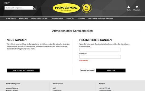 Screenshot of Login Page novopos.ch - Kundenlogin - captured Nov. 6, 2017