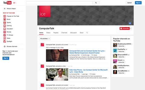 Screenshot of YouTube Page youtube.com - ComputerTalk  - YouTube - captured Oct. 22, 2014
