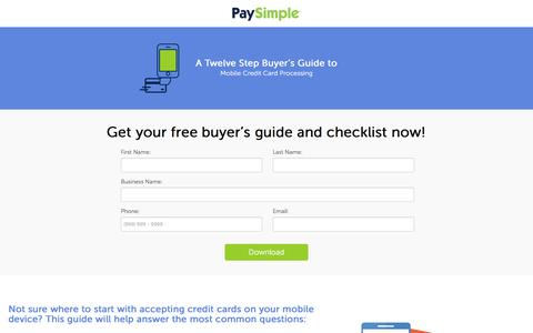 Screenshot of Landing Page paysimple.com - Download a 12-step buyer's guide to mobile credit card processing | PaySimple - captured Oct. 29, 2016