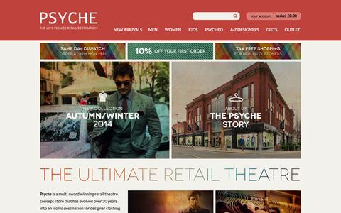 Screenshot of Home Page psyche.co.uk - Autumn Winter 2014 Designer Brands From Award Winning Retailer Psyche - captured Sept. 24, 2014