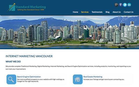 Screenshot of Services Page standardmarketing.com - Internet Marketing Vancouver, SEO, Website Marketing - captured Sept. 25, 2014