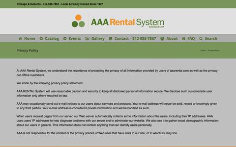 Screenshot of Privacy Page aaarental.com - Privacy Policy - AAA Rental System - captured July 23, 2016