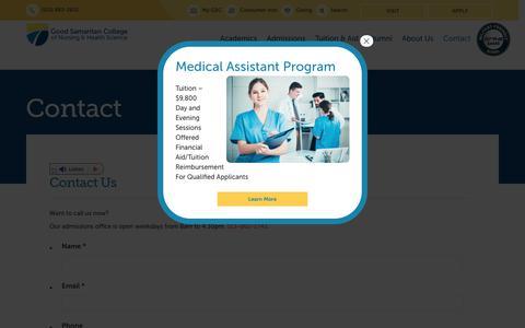 Screenshot of Contact Page gscollege.edu - Contact - Good Samaritan - captured Oct. 12, 2019