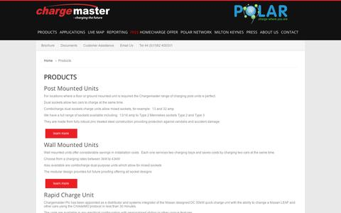 Screenshot of Products Page chargemasterplc.com - Products - captured Sept. 12, 2014