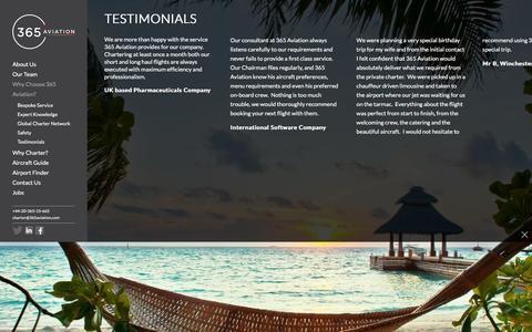 Screenshot of Testimonials Page 365aviation.com - 365 Aviation | 365 Aviation | Client Testimonials - captured Feb. 13, 2016