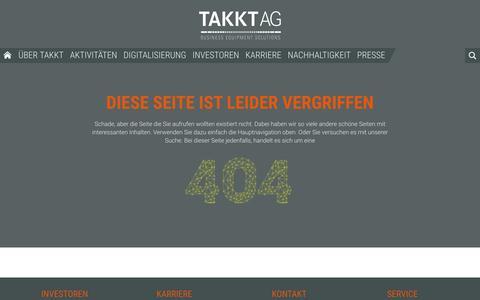 Screenshot of Site Map Page takkt.de - TAKKT AG - 404 - captured Nov. 19, 2016