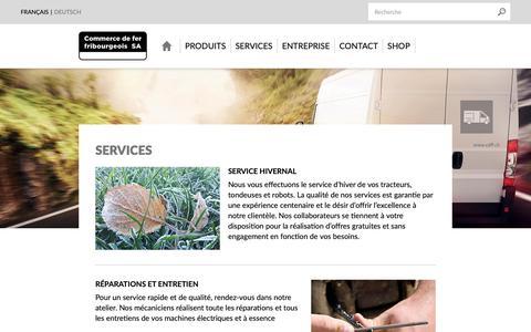 Screenshot of Services Page cdff.ch - Services - Commerce de fer fribourgeois SA, votre partenaire pour la construction - captured Sept. 29, 2018