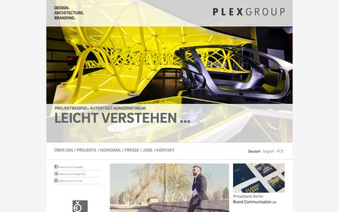 Screenshot of Home Page plexgroup.com - PLEXGROUP | DESIGN. ARCHITECTURE. BRANDING. - captured Oct. 22, 2015