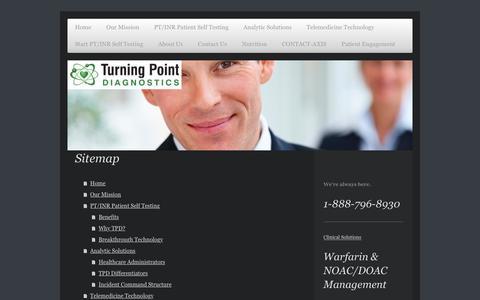 Screenshot of Site Map Page tpdiagnostics.com - Turning Point Diagnostics - Home - captured Oct. 24, 2017