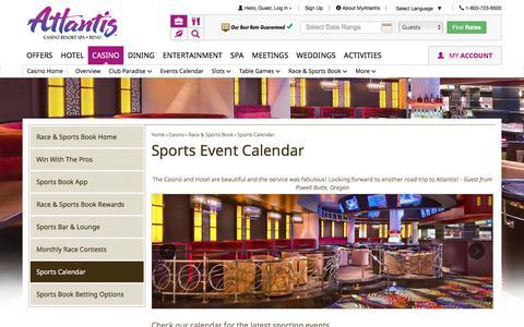 Screenshot of atlantiscasino.com - Atlantis Sports Event Calendar | Reno Sports Betting - captured Nov. 28, 2017