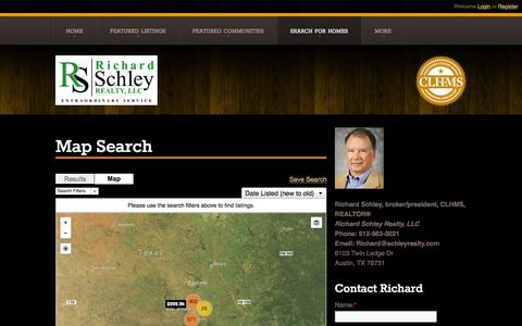 Screenshot of Maps & Directions Page schleyrealty.com - Map Search   Richard Schley   Richard Schley Realty, LLC    Austin TX Real Estate   Call us at 512-983-0021   - captured Feb. 15, 2016