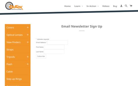 Screenshot of Signup Page outex.com - Email Newsletter Sign Up Đ Outex - captured Jan. 11, 2016