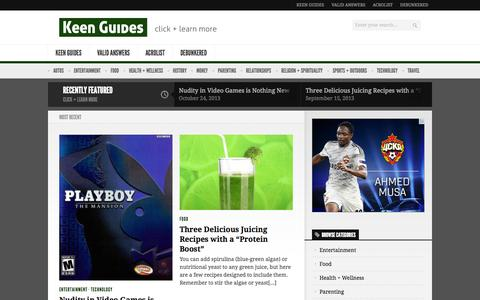 Screenshot of Home Page keenguides.com - Keen Guides - captured Sept. 30, 2014