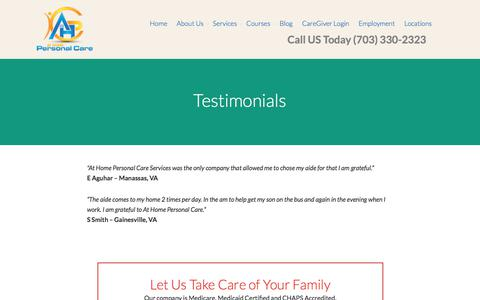 Screenshot of Testimonials Page homepersonalcareva.com - Home Health Care Company Reviews - captured Oct. 9, 2017