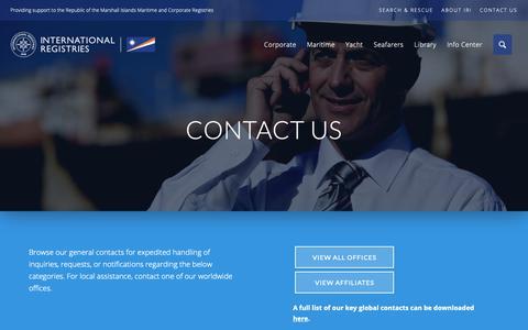 Screenshot of Contact Page register-iri.com - Contact Us - IRI | International Registries, Inc. - captured Dec. 19, 2018