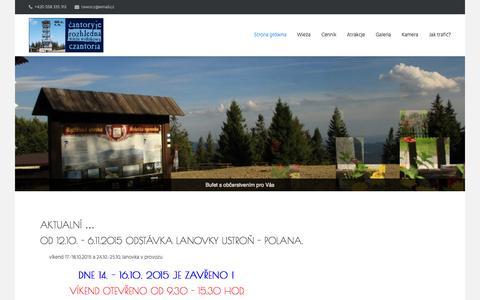 Screenshot of Home Page cantoryje.cz - Czantoria – wieża widokowa    Čantoryje – rozhledna - captured Oct. 16, 2015
