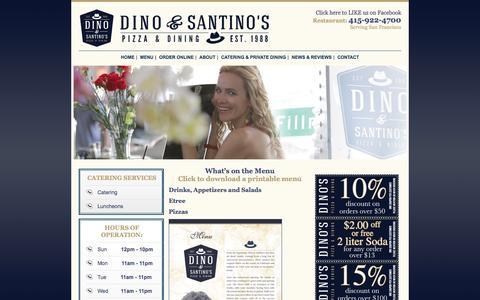 Screenshot of Menu Page dinos-sf.com - About Dino's  | San Francisco, CA Caterer | 415-922-4700 - captured April 7, 2016