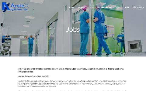 Screenshot of Jobs Page aretexeng.com - Jobs — AreteX Systems - captured Feb. 6, 2016