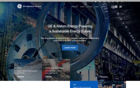 Screenshot of Home Page ge.com - GE | Imagination at Work | Technology | Innovation | General Electric - captured Nov. 9, 2015