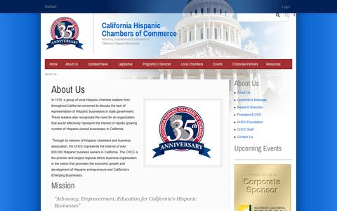 Screenshot of About Page cahcc.com - California Hispanic Chambers of Commerce > About Us - captured Oct. 1, 2014