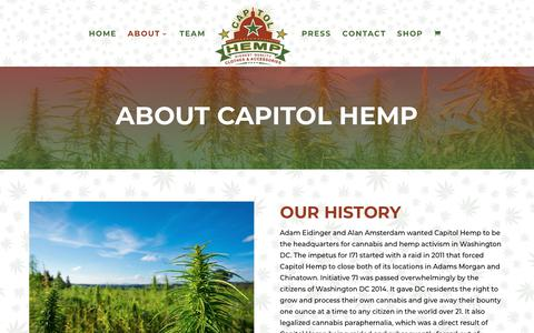 Screenshot of About Page capitolhemp.com - About Capitol Hemp | DC's Top Choice for Cannabis Clothing & Accessories | Capitol Hemp - captured July 16, 2018