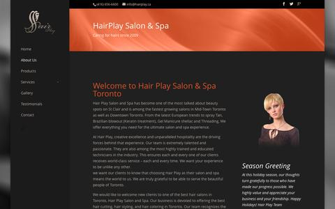 Screenshot of About Page hairplay.ca - About HairPlay - Hair Play Salon - captured Feb. 2, 2016