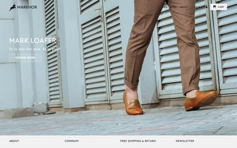 Screenshot of Home Page themarkhor.com - Markhor: High Quality. Handcrafted Shoes - captured Feb. 6, 2016