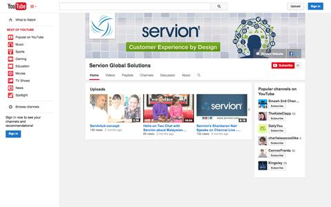 Screenshot of YouTube Page youtube.com - Servion Global Solutions  - YouTube - captured Oct. 26, 2014
